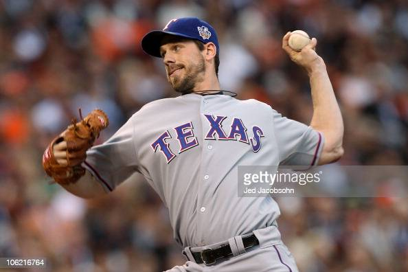 Cliff Lee of the Texas Rangers pitches against the San Francisco Giants in Game One of the 2010 MLB World Series at ATT Park on October 27 2010 in...