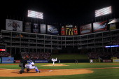 Cliff Lee of the Texas Rangers pitches against the San Francisco Giants in Game Five of the 2010 MLB World Series at Rangers Ballpark in Arlington on...
