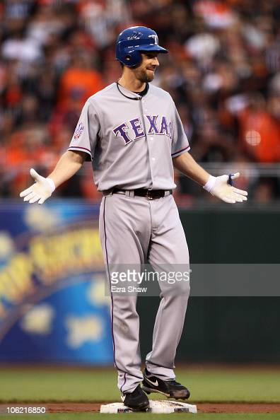 Cliff Lee of the Texas Rangers reacts after hitting a double in the second against the San Francisco Giants in Game One of the 2010 MLB World Series...
