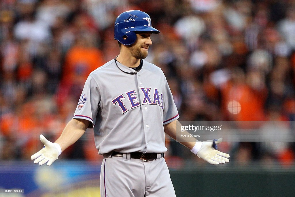 <a gi-track='captionPersonalityLinkClicked' href=/galleries/search?phrase=Cliff+Lee&family=editorial&specificpeople=218092 ng-click='$event.stopPropagation()'>Cliff Lee</a> #33 of the Texas Rangers reacts after hitting a double in the second against the San Francisco Giants in Game One of the 2010 MLB World Series at AT&T Park on October 27, 2010 in San Francisco, California.