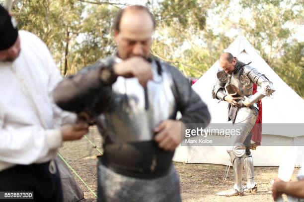 Cliff Marisma of Australia and Arne Koets of the Netherlands prepare in camp to compete in the World Jousting Championships on September 24 2017 in...