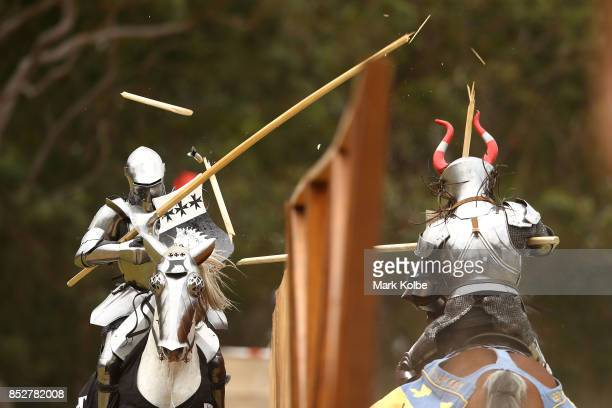 Cliff Marisma of Australia and Per Estein ProisRohjell of Norway compete in the World Jousting Championships on September 24 2017 in Sydney Australia...