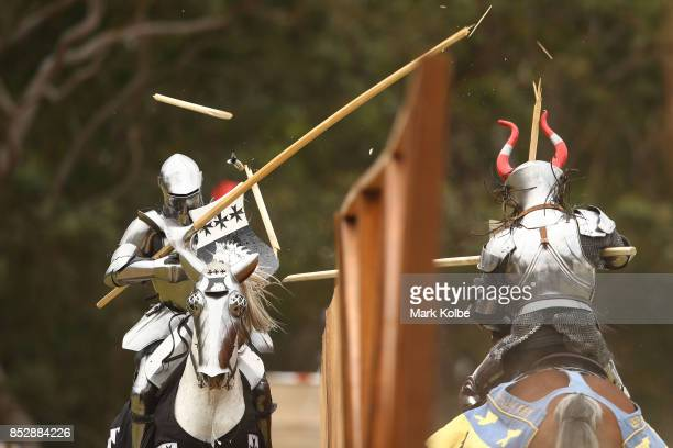 Cliff Marisma of Australia and Per Estein ProisRohjell of Norway compete in the inaugural World Jousting Championship at the St Ives Medieval Faire...