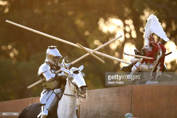 Cliff Marisma of Australia competes in the World Jousting Championships against Michael Sadde of France on September 24 2017 in Sydney Australia The...