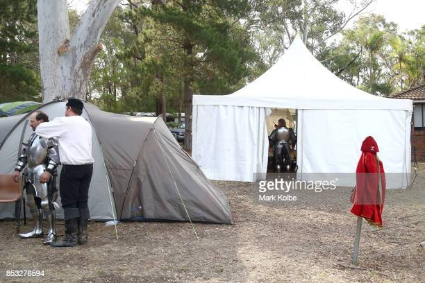 Cliff Marisma of Australia prepares in camp to compete in the World Jousting Championships on September 24 2017 in Sydney Australia The World...