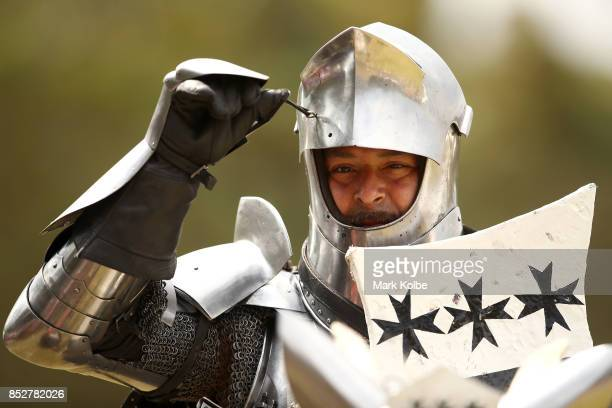 Cliff Marisma of Australia prepares to compete in the World Jousting Championships on September 24 2017 in Sydney Australia The World Jousting...