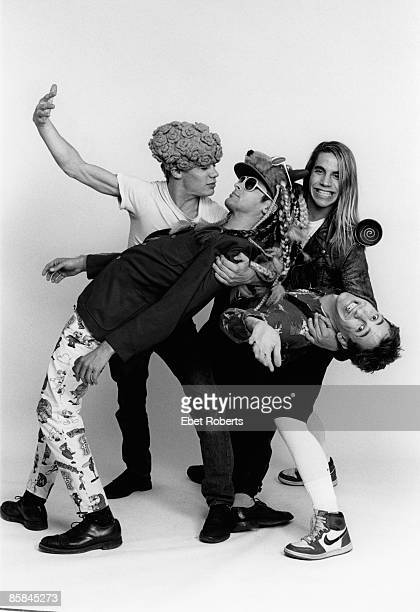 Photo of RED HOT CHILI PEPPERS Cliff MARTINEZ and FLEA and Hillel SLOVAK and Anthony KIEDIS LR Flea Cliff Martinez Anthony Kiedis Hillel Slovak posed...