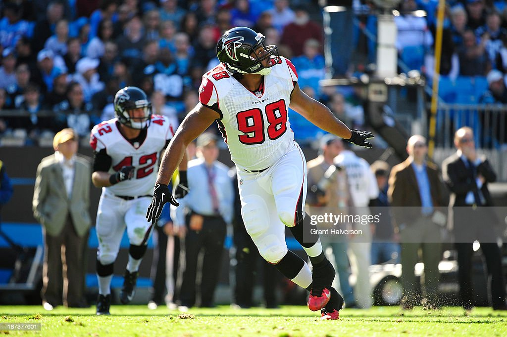 <a gi-track='captionPersonalityLinkClicked' href=/galleries/search?phrase=Cliff+Matthews&family=editorial&specificpeople=5507696 ng-click='$event.stopPropagation()'>Cliff Matthews</a> #98 of the Atlanta Falcons of the Carolina Panthers during play at Bank of America Stadium on November 3, 2013 in Charlotte, North Carolina. The Panthers won 34-10.
