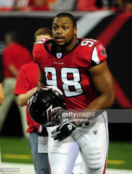 Cliff Matthews of the Atlanta Falcons warms up against the Miami Dolphins before a preseason game at the Georgia Dome on August 12 2011 in Atlanta...