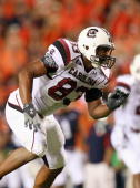 Cliff Matthews of the South Carolina Gamecocks against the Auburn Tigers at JordanHare Stadium on September 25 2010 in Auburn Alabama