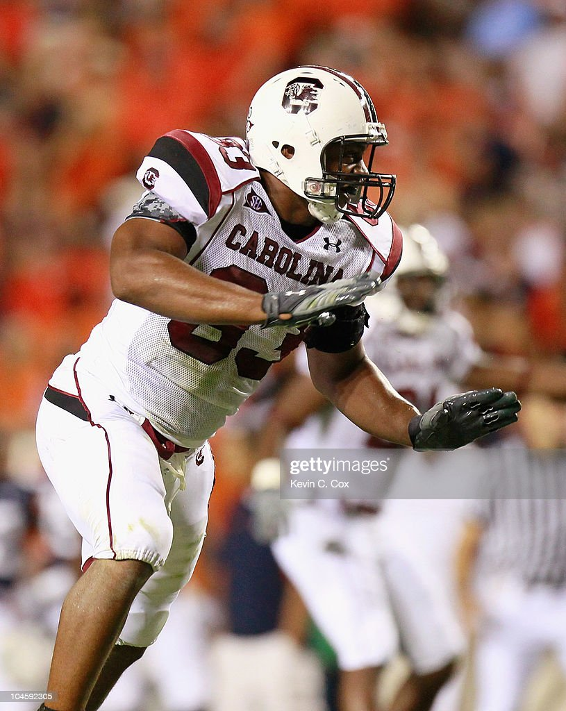 Cliff Matthews #83 of the South Carolina Gamecocks against the Auburn Tigers at Jordan-Hare Stadium on September 25, 2010 in Auburn, Alabama.
