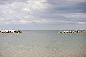 Cliff on the sea, Rimini, Italy