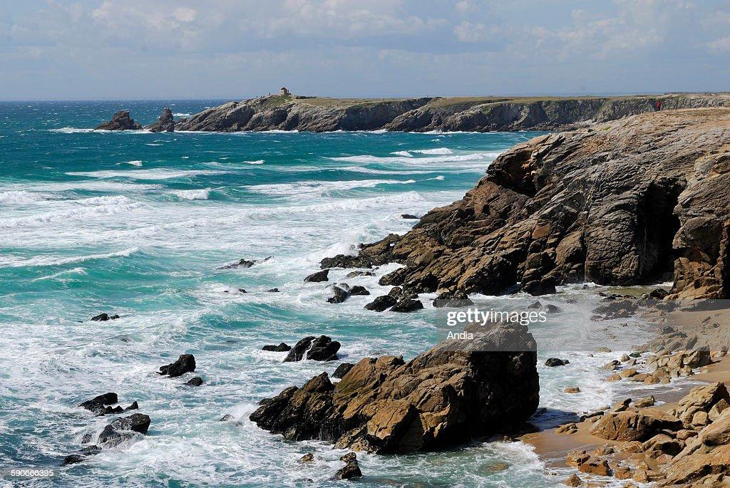 Cliff on the wild coast on the peninsula of Quiberon