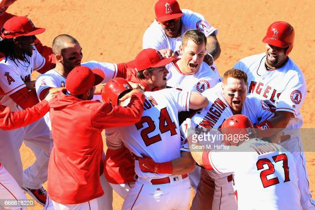 Cliff Pennington is congratulated by Andrelton Simmons Kole Calhoun Mike Trout Andrew Bailey Albert Pujols Carlos Perez and Martin Maldonado of the...