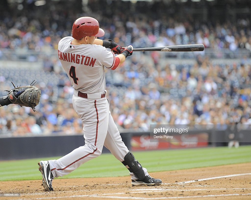 Cliff Pennington #4 of the Arizona Diamondbacks hits an RBI single during the second inning of a baseball game against the San Diego Padres at Petco Park on May 4, 2013 in San Diego, California.