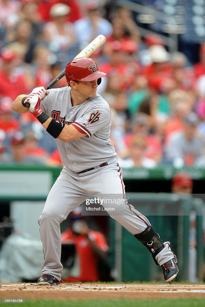 Cliff Pennington of the Arizona Diamondbacks prepares for a pitch during a baseball game against the Washington Nationals on August 21 2014 at...