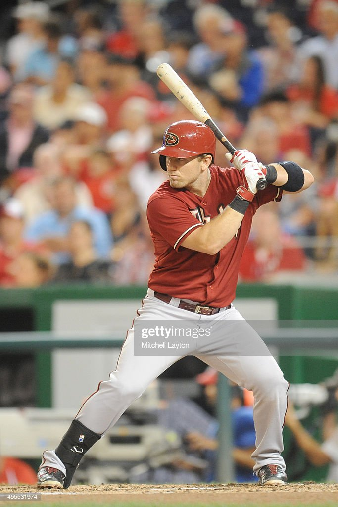 Cliff Pennington of the Arizona Diamondbacks prepares for a pitch during a baseball game against the Washington Nationals on August 20 2014 at...