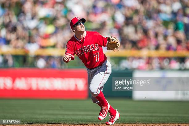 Cliff Pennington of the Los Angeles Angels bats during a spring training game against the Chicago Cubs at Sloan Park on March 4 2016 in Mesa Arizona