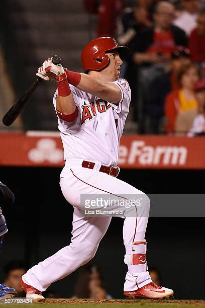 Cliff Pennington of the Los Angeles Angels of Anaheim bats against the Kansas City Royals at Angel Stadium of Anaheim on April 27 2016 in Anaheim...