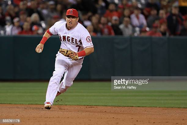 Cliff Pennington of the Los Angeles Angels of Anaheim chases Matt Holliday of the St Louis Cardinals in a rundown during a baseball game between the...