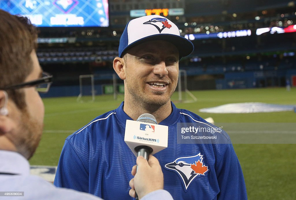 Cliff Pennington of the Toronto Blue Jays talks to the media about pitching a day earlier against the Kansas City Royals during game five of the...