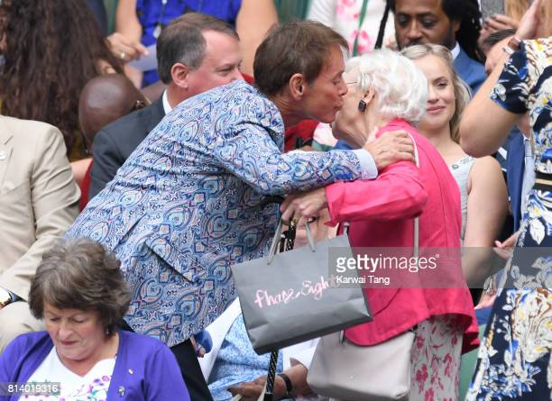 Cliff Richard and June Whitfield attend day ten of the Wimbledon Tennis Championships at the All England Lawn Tennis and Croquet Club on July 13 2017...