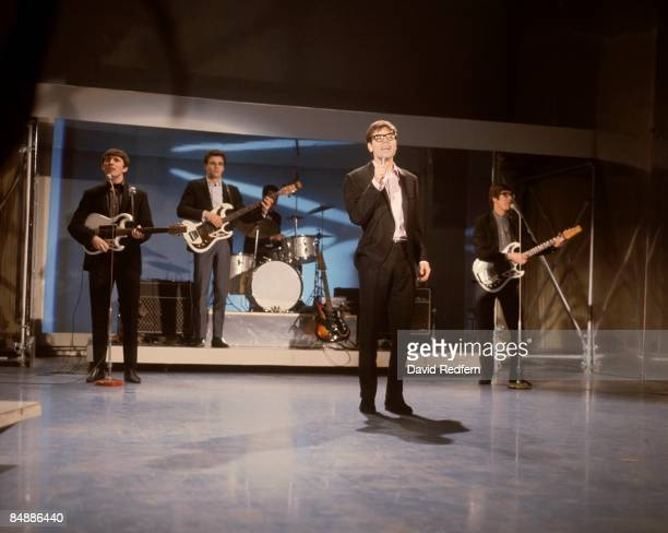 CENTRE Photo of SHADOWS and Cliff RICHARD with the Shadows LR Bruce Welch John Rostill Brian Bennett Cliff Richard Hank Marvin performing on the Show...