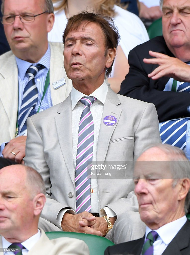 <a gi-track='captionPersonalityLinkClicked' href=/galleries/search?phrase=Cliff+Richard&family=editorial&specificpeople=158267 ng-click='$event.stopPropagation()'>Cliff Richard</a> attends day one of the Wimbledon Tennis Championships at Wimbledon on June 27, 2016 in London, England.