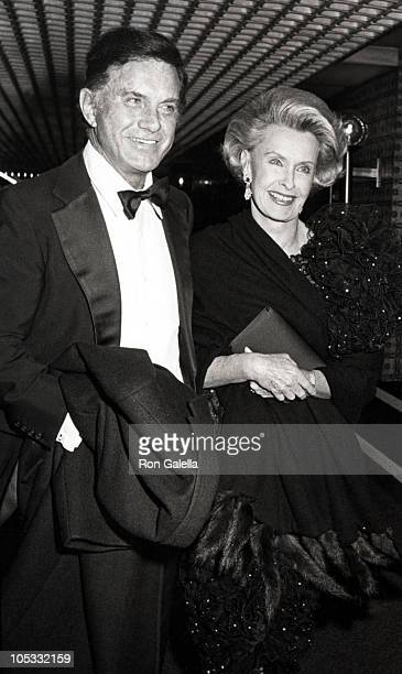 Cliff Robertson and Dina Merrill during Al D'Amato Fundraising Gala Dinner at Waldorf Hotel in New York City New York United States