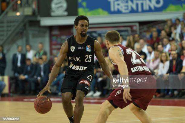 Clifford Hammonds of Wuerzburg and Anton Gavel of Bayern Muenchen battle for the ball during the easyCredit BBL Basketball Bundesliga match between...