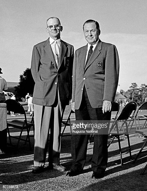 Clifford Roberts and Bobby Jones smile together after the 1954 Masters Tournament at Augusta National Golf Club held April 812 1954 in Augusta Georgia