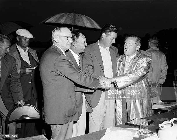 Clifford Roberts Ben Hogan Cary Middlecoff and Bobby Jones during the Presentation Ceremony after the 1955 Masters Tournament at Augusta National...