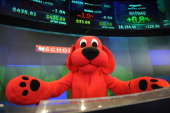 Clifford the Big Red Dog attends The NASDAQ Closing Bell at NASDAQ MarketSite on February 14 2014 in New York City