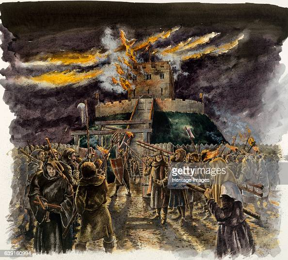Clifford's Tower Burning of the Wooden Tower during the massacre of the Jews in 1190 Reconstruction drawing Clifford's Tower the largest remaining...