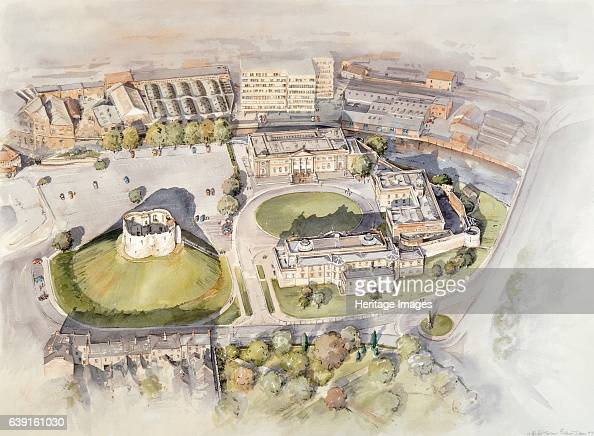 Clifford's Tower York c2010 Reconstruction drawing of contemporary aerial view Clifford's Tower is the largest remaining part of York Castle once the...