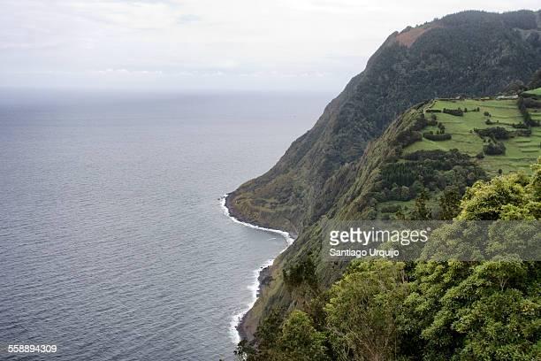 Cliffs in green island of Terceira