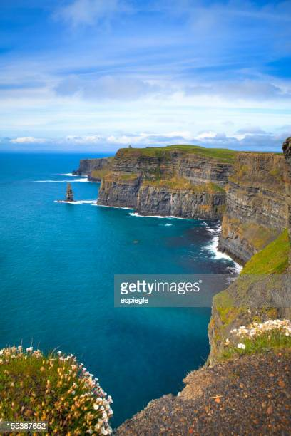 Cliffs near a mass of water in Moher, Ireland