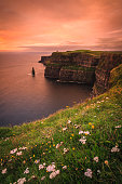 Landscape of the Irish coast at sunset
