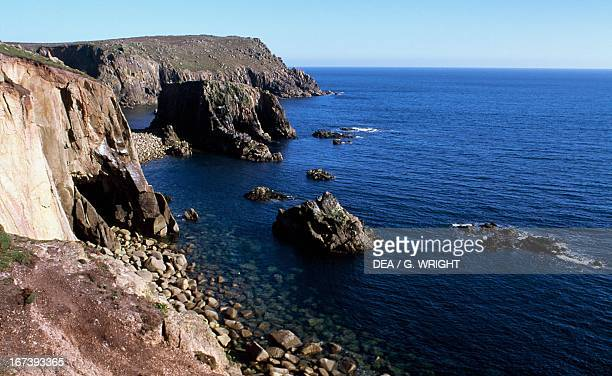 Cliffs on Land's End headland the most westerly point of mainland Cornwall and England England United Kingdom Aerial view