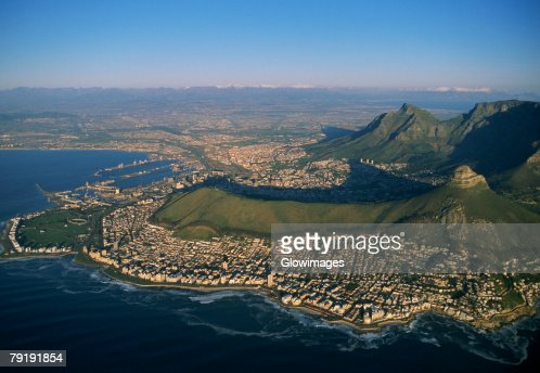 Clifton Beaches with Lions Head and Table Mountain, Capetown, South Africa : Stock Photo