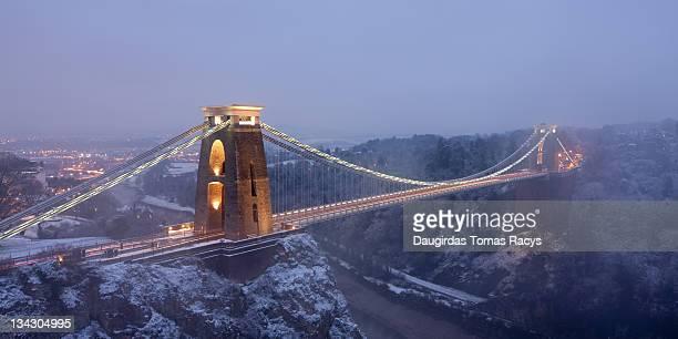 Clifton bridge at night during winter