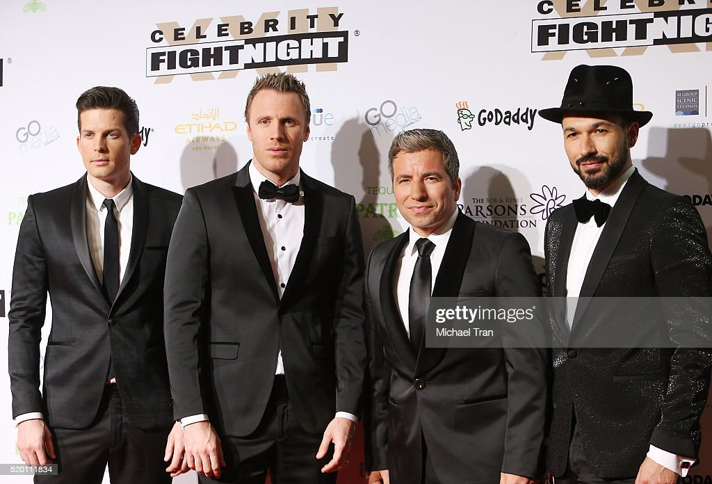 Clifton Murray Fraser Walters Remigio Pereira and Victor Micallef of The Tenors arrive at Muhammad Ali's 22nd Celebrity Fight Night held at JW...