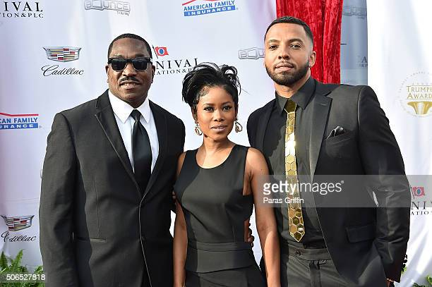 Clifton Powell Jasmine Burke and Christian Keyes attend 2016 Trumpet Awards at Cobb Energy Performing Arts Center on January 23 2016 in Atlanta...