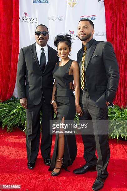 Clifton Powell Jasmine Burke and Christian Keyes attend the 2016 Trumpet Awards on January 23 2016 in Atlanta Georgia