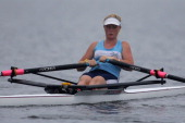 Clifton Rowing Club women's U20 single sculls during the North Island Club Championships at Lake Karapiro on February 8 2014 in Cambridge New Zealand