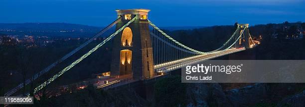 Clifton Suspension Bridge, Bristol, England at twilight