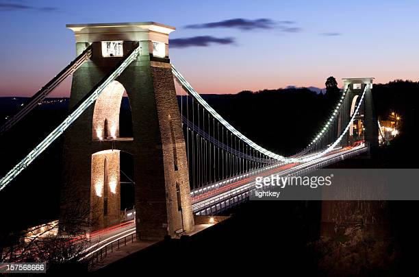 Clifton suspension bridge crossed by cars