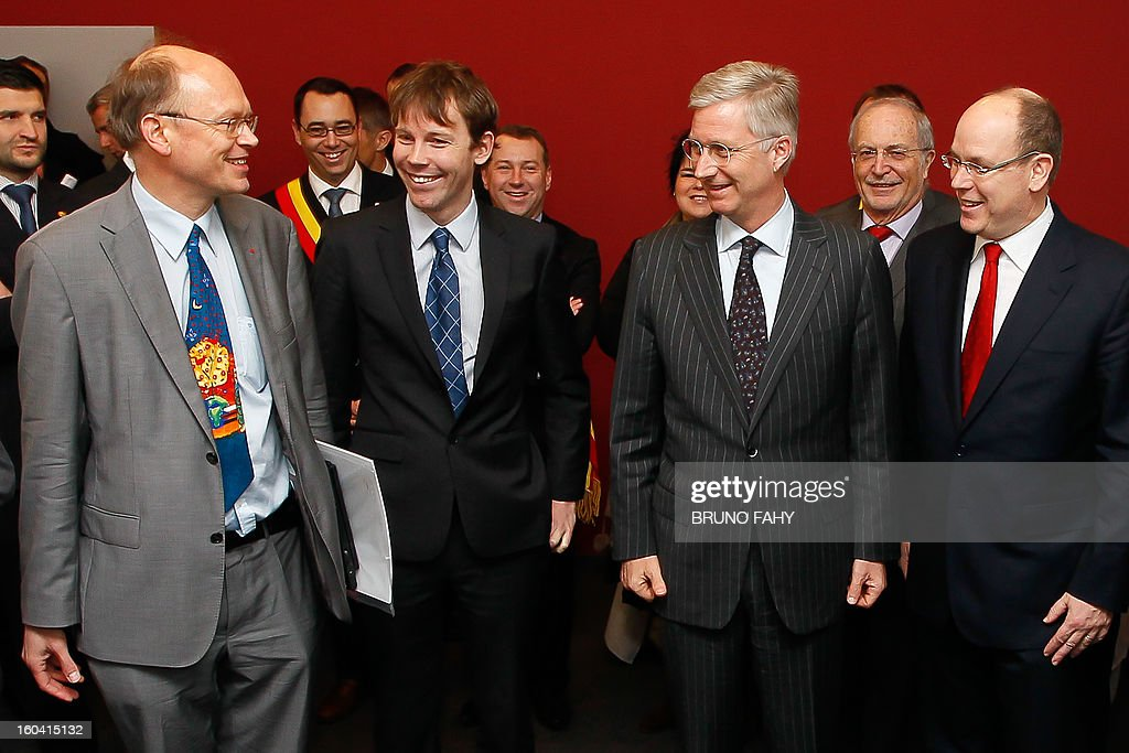 Climatologist Jean-Pascal van Ypersele de Strihou (L), Crown Prince Philippe of Belgium (2R) and Prince Albert of Monaco (R) attend the opening of the first interdisciplinary congress on sustainable development on January 31, 2013 in Namur. AFP PHOTO / BELGA / BRUNO FAHY