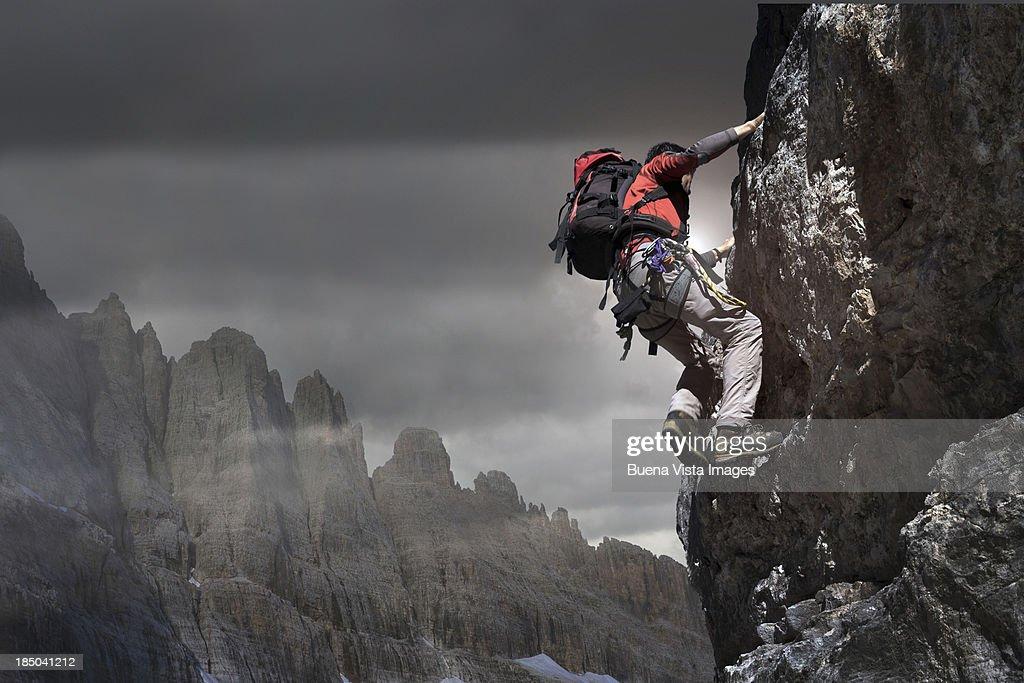Climber on a rocky wall.