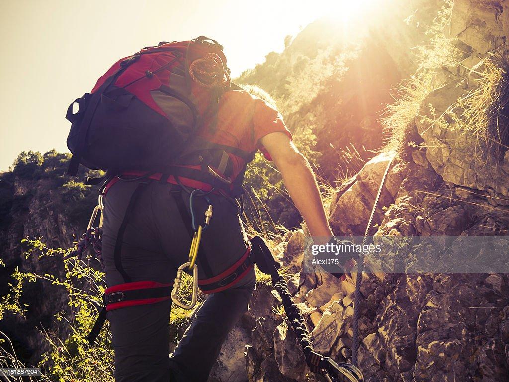 Climber on a Via Ferrata
